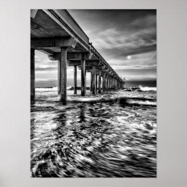Beach Themed B&W pier at dawn, California Poster