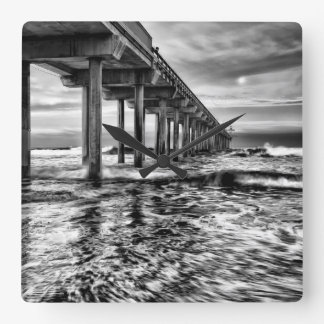 B&W pier at dawn, California Square Wall Clock