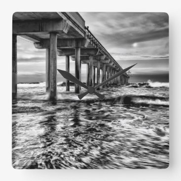 USA Themed B&W pier at dawn, California Square Wall Clock