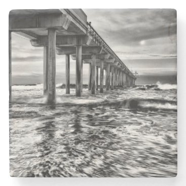 USA Themed B&W pier at dawn, California Stone Coaster