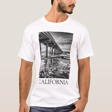 USA Themed B&W pier at dawn, California T-Shirt