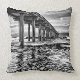 B&W pier at dawn, California Throw Pillow