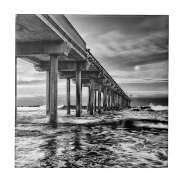 USA Themed B&W pier at dawn, California Tile