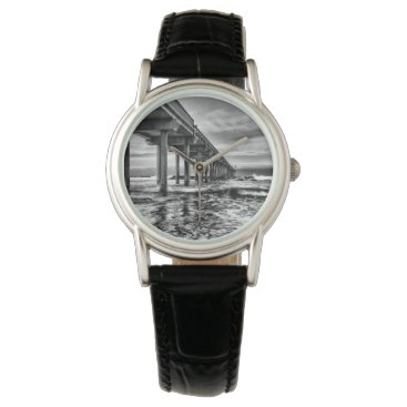 USA Themed B&W pier at dawn, California Wrist Watch