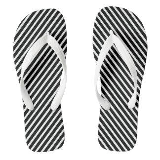 B&W  Pinstripe Flip Flops