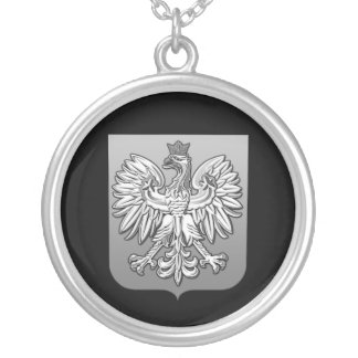 B/W Polish Eagle Shield Silver Plated Necklace