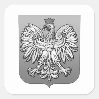 B/W Polish Eagle Shield Square Sticker