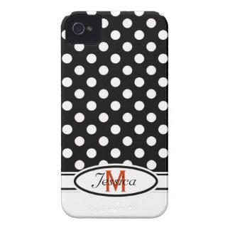 B & W Polka-dot Monogram Blackberry Bold  Case