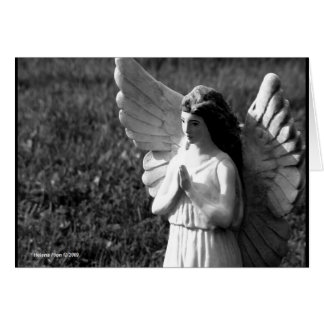 B&W Praying Angel Greeting Card