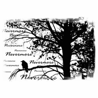 B&W Raven nunca más la silueta Fotoescultura Vertical