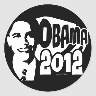 B&W Re-Elect Obama 2012 Gear Classic Round Sticker