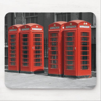 B/W Red Tinted London Telephone Boxes Mousepad