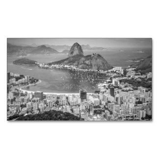 B&W Rio de Janeiro aerial view Magnetic Business Card