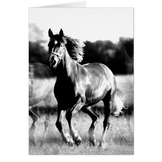 B&W Running Horse Card