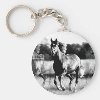 B&W Running Horse Keychain