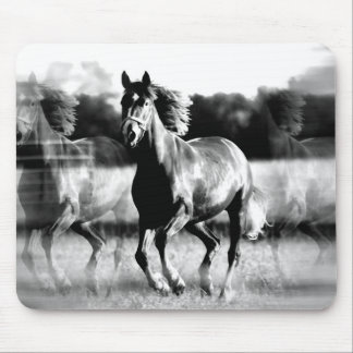 B&W Running Horse Mouse Pad