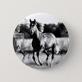 B&W Running Horse Pinback Button