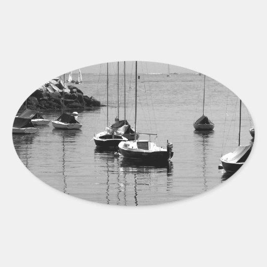 B&W Sailboats Oval Sticker