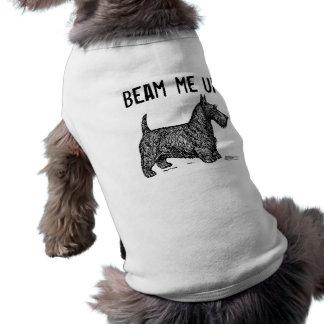 "B/W Scottie ""beam me up"" Illustration Dog Sweater Shirt"