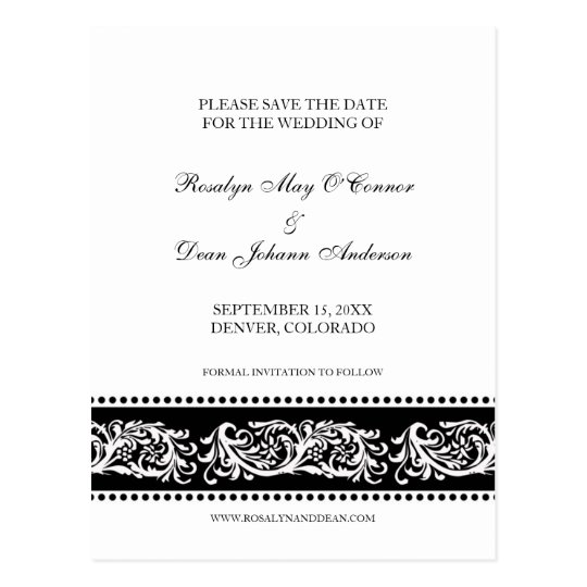 B&W scroll custom wedding save the date flat cards
