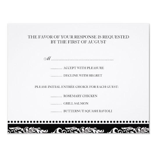 B&W scroll elegant rsvp wedding response card