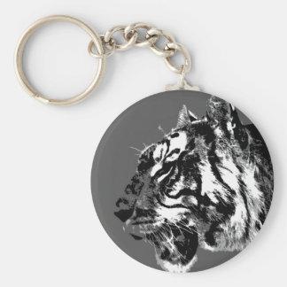 B&W Siberian Tiger Keychain