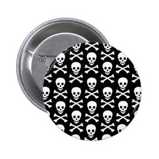 B&W Skull & Bones 2 Inch Round Button