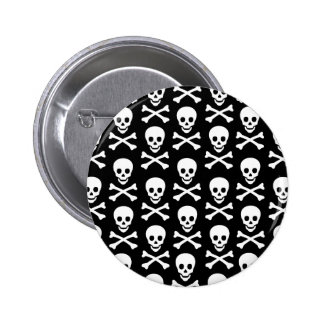 B&W Skull & Bones Pinback Buttons