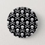 B&W Skull & Bones Pinback Button