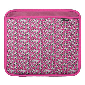 B&W Soccer Balls on Pink Background iPad Sleeve