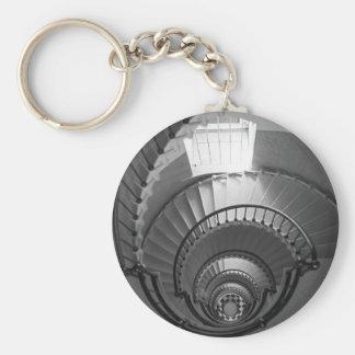 B&W spiral lighthouse staircase Basic Round Button Keychain