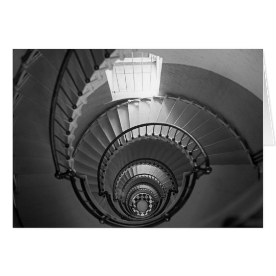 B&W spiral lighthouse staircase Card