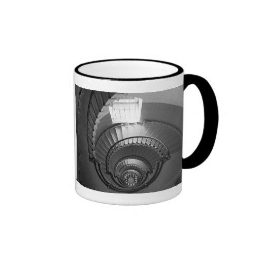 B&W spiral lighthouse staircase Ringer Mug