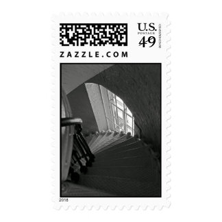 B&W steep lighthouse stairs Postage Stamp
