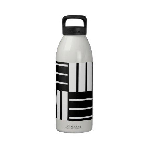B&W Striped Squares Drinking Bottle