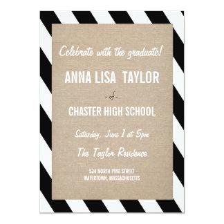 "B&W Stripes Class of 2015 Graduation 2015 Invite 5"" X 7"" Invitation Card"
