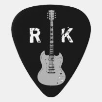 b&w, stylish & cool, name & initials guitar pick