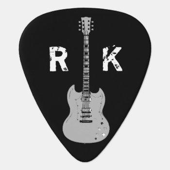 B&w  Stylish & Cool  Name & Initials Guitar Pick by mixedworld at Zazzle