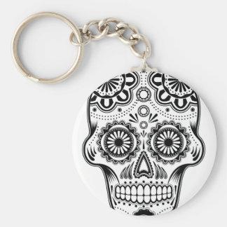 B&W Sugar Skull Keychain