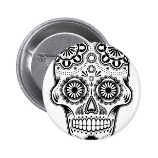 B&W Sugar Skull Pinback Button