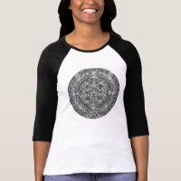B&W T-shirt with an Aztec calendar drawing.