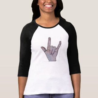 """B&W T-shirt with an, """"I love you"""" sign."""