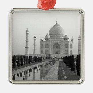 B&W Taj Mahal 4 Metal Ornament