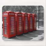 B/W Tinted Red London Telephone Boxes Mousepad