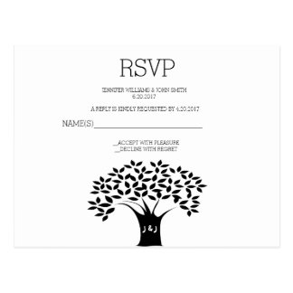 B&W Tree Wedding RSVP Cards