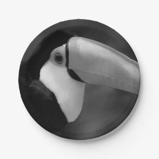 B&W Tucano bird Paper Plate
