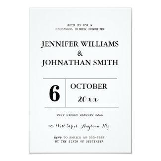 B&W typography rehearsal dinner invitations