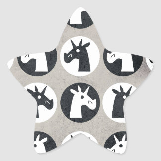 B&W Unicorn Dots Star Sticker