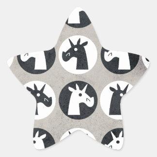 B&W Unicorn Dots Star Sticker