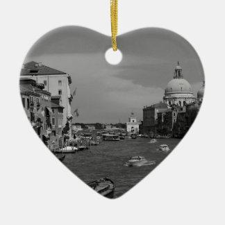 B&W Venice 2 Double-Sided Heart Ceramic Christmas Ornament